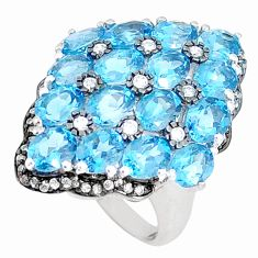 10.66cts natural diamond london blue topaz 925 silver ring size 6 c20604