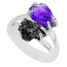 6.72cts natural diamond raw amethyst rough 925 silver ring size 7 r92281