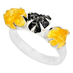 5.96cts natural diamond raw citrine rough 925 silver handmade ring size 8 r79222