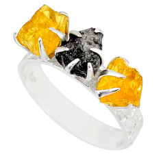 5.81cts natural diamond raw citrine rough 925 silver handmade ring size 9 r79207