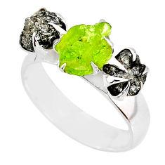 5.38cts natural diamond raw green peridot rough handmade ring size 8 r79302