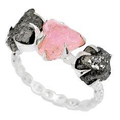 5.25cts natural diamond raw morganite rough silver handmade ring size 6 r79318