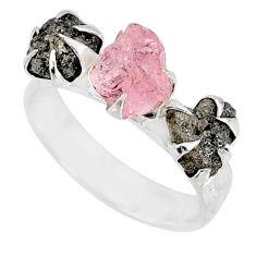 5.23cts natural diamond raw morganite rough silver handmade ring size 8 r79319