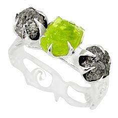 5.03cts natural diamond raw peridot rough 925 silver handmade ring size 7 r79336