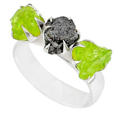 6.33cts natural diamond raw peridot rough 925 silver handmade ring size 8 r79237