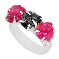 6.33cts natural diamond raw ruby rough 925 sterling silver ring size 7 r79219