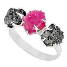 5.22cts natural diamond raw ruby rough 925 sterling silver ring size 8 r79288
