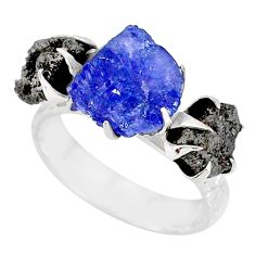 6.02cts natural diamond raw tanzanite rough silver handmade ring size 7 r79248