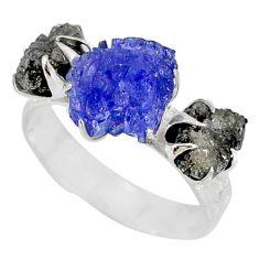 6.33cts natural diamond raw tanzanite rough silver handmade ring size 8 r79251