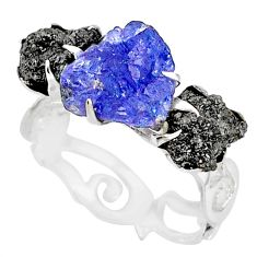 5.81cts natural diamond raw tanzanite rough silver handmade ring size 8 r79255