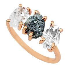 6.73cts natural diamond raw 14k rose gold handmade ring size 7 t14011