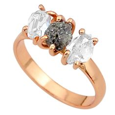 8.03cts natural diamond raw 14k rose gold handmade ring jewelry size 9 t14003