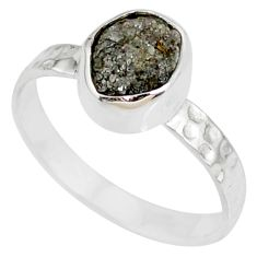 1.73cts natural diamond rough 925 silver solitaire handmade ring size 8 r79058