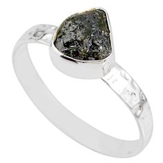 1.74cts natural diamond rough 925 silver solitaire handmade ring size 9 r79054