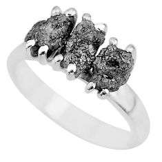 3.73cts natural diamond rough 925 sterling silver ring jewelry size 7 r92311