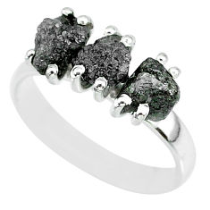 3.91cts natural diamond rough 925 sterling silver ring jewelry size 8 r92349