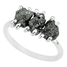 3.64cts natural diamond rough 925 sterling silver ring jewelry size 8 r92352