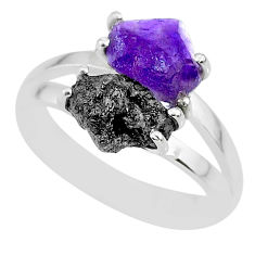6.03cts natural diamond rough amethyst rough 925 silver ring size 8.5 r92293