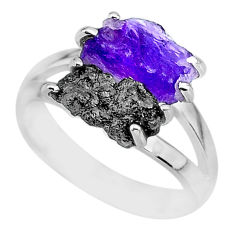 6.38cts natural diamond rough amethyst rough 925 silver ring size 7 r92209