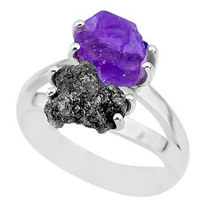 7.04cts natural diamond rough amethyst rough 925 silver ring size 7 r92241