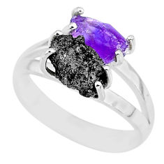 6.03cts natural diamond rough amethyst rough 925 silver ring size 8 r92233