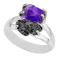 6.04cts natural diamond rough amethyst rough 925 silver ring size 8 r92297