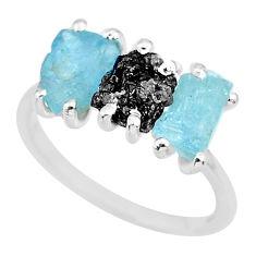 6.64cts natural diamond rough aquamarine raw 925 silver ring size 7 r92135