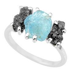 7.17cts natural diamond rough aquamarine raw 925 silver ring size 7 r92141