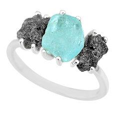 7.66cts natural diamond rough aquamarine raw 925 silver ring size 7 r92157