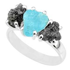 8.84cts natural diamond rough aquamarine raw 925 silver ring size 7 r92194