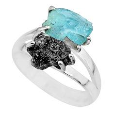 6.68cts natural diamond rough aquamarine raw 925 silver ring size 7 r92207