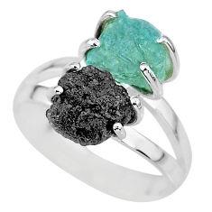 6.72cts natural diamond rough aquamarine raw 925 silver ring size 7 r92219
