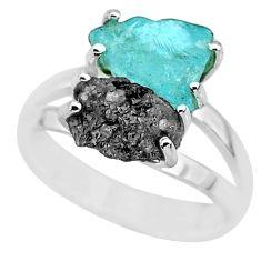 7.04cts natural diamond rough aquamarine rough 925 silver ring size 7 r92260