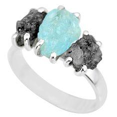 6.67cts natural diamond rough aquamarine raw 925 silver ring size 8 r92170