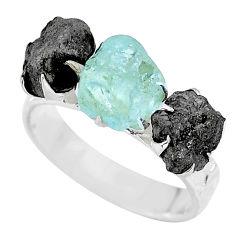 9.86cts natural diamond rough aquamarine raw 925 silver ring size 8 r92173