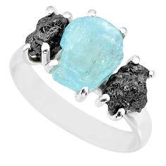 9.37cts natural diamond rough aquamarine raw 925 silver ring size 8 r92193