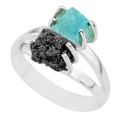 7.30cts natural diamond rough aquamarine raw 925 silver ring size 8 r92213