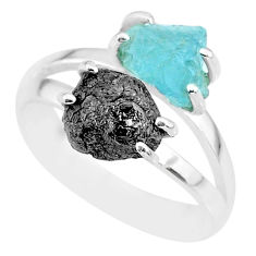 6.72cts natural diamond rough aquamarine rough 925 silver ring size 8 r92239