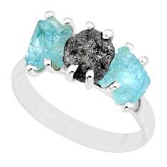 8.84cts natural diamond rough aquamarine raw 925 silver ring size 9 r92106