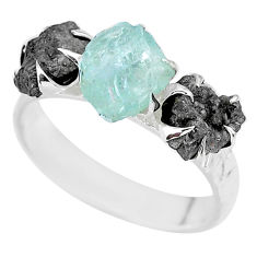 8.45cts natural diamond rough aquamarine raw 925 silver ring size 9 r92161