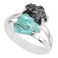 6.98cts natural diamond rough aquamarine rough 925 silver ring size 9 r92245