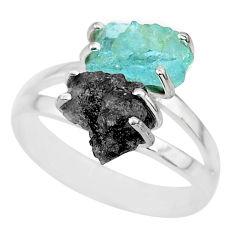 6.70cts natural diamond rough aquamarine rough 925 silver ring size 9 r92259