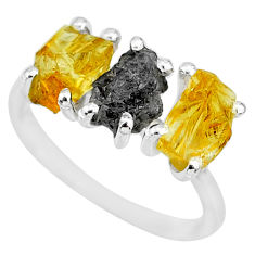 7.66cts natural diamond rough citrine raw 925 silver ring size 7 r92088