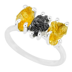 7.17cts natural diamond rough citrine raw 925 silver ring size 7 r92113