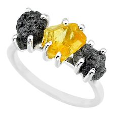 7.66cts natural diamond rough citrine rough 925 silver ring size 7 r92190