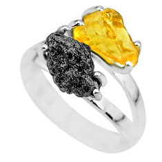 6.38cts natural diamond rough citrine rough 925 silver ring size 7 r92202
