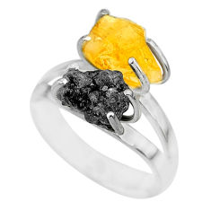 7.04cts natural diamond rough citrine rough 925 silver ring size 7 r92263