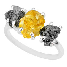 7.66cts natural diamond rough citrine rough 925 silver ring size 8 r92155