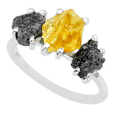 8.12cts natural diamond rough citrine rough 925 silver ring size 8 r92186