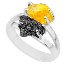 7.04cts natural diamond rough citrine rough 925 silver ring size 8 r92201